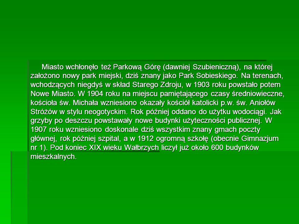 Miasto wchłonęło też Parkową Górę (dawniej Szubieniczną), na której założono nowy park miejski, dziś znany jako Park Sobieskiego. Na terenach, wchodzą