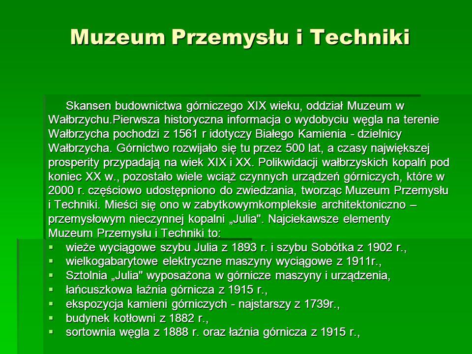Muzeum Przemysłu i Techniki Skansen budownictwa górniczego XIX wieku, oddział Muzeum w Wałbrzychu.Pierwsza historyczna informacja o wydobyciu węgla na
