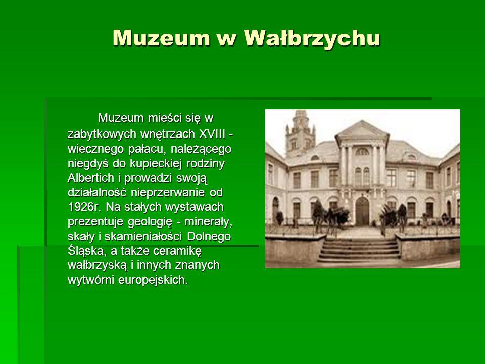 Muzeum w Wałbrzychu Muzeum mieści się w zabytkowych wnętrzach XVIII - wiecznego pałacu, należącego niegdyś do kupieckiej rodziny Albertich i prowadzi