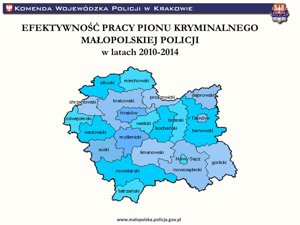 EFEKTYWNOŚĆ PRACY PIONU KRYMINALNEGO MAŁOPOLSKIEJ POLICJI w latach 2010-2014
