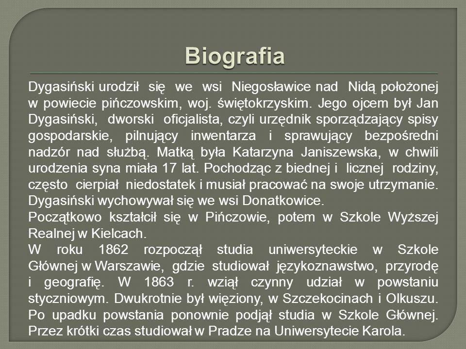 Dygasiński urodził się we wsi Niegosławice nad Nidą położonej w powiecie pińczowskim, woj.
