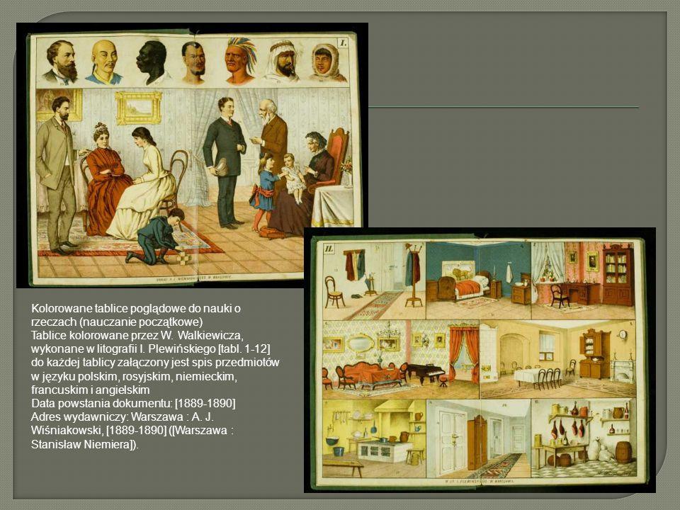 Kolorowane tablice poglądowe do nauki o rzeczach (nauczanie początkowe) Tablice kolorowane przez W. Walkiewicza, wykonane w litografii I. Plewińskiego