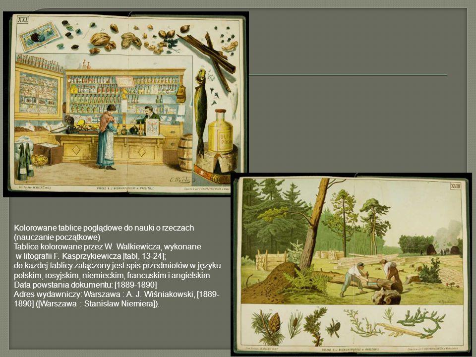 Kolorowane tablice poglądowe do nauki o rzeczach (nauczanie początkowe) Tablice kolorowane przez W. Walkiewicza, wykonane w litografii F. Kasprzykiewi