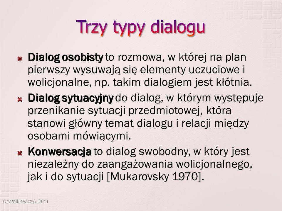  Dialog osobisty  Dialog osobisty to rozmowa, w której na plan pierwszy wysuwają się elementy uczuciowe i wolicjonalne, np. takim dialogiem jest kłó