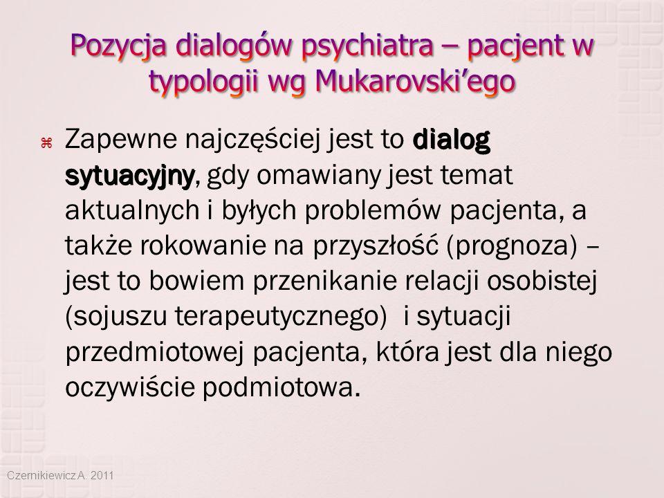 dialog sytuacyjny  Zapewne najczęściej jest to dialog sytuacyjny, gdy omawiany jest temat aktualnych i byłych problemów pacjenta, a także rokowanie n