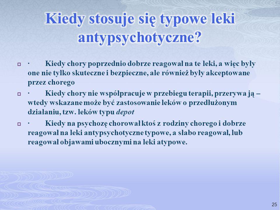  · Kiedy chory poprzednio dobrze reagował na te leki, a więc były one nie tylko skuteczne i bezpieczne, ale również były akceptowane przez chorego 