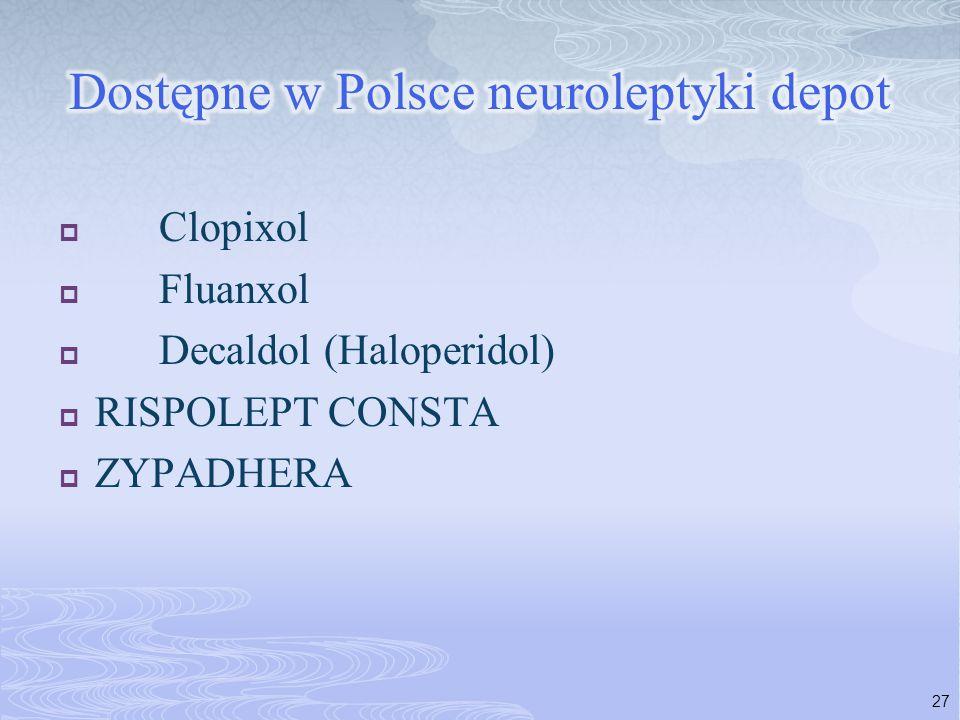  Clopixol  Fluanxol  Decaldol (Haloperidol)  RISPOLEPT CONSTA  ZYPADHERA 27