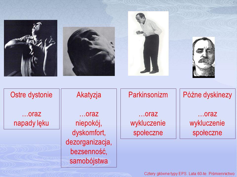 Ostre dystonie …oraz napady lęku Parkinsonizm …oraz wykluczenie społeczne Akatyzja …oraz niepokój, dyskomfort, dezorganizacja, bezsenność, samobójstwa