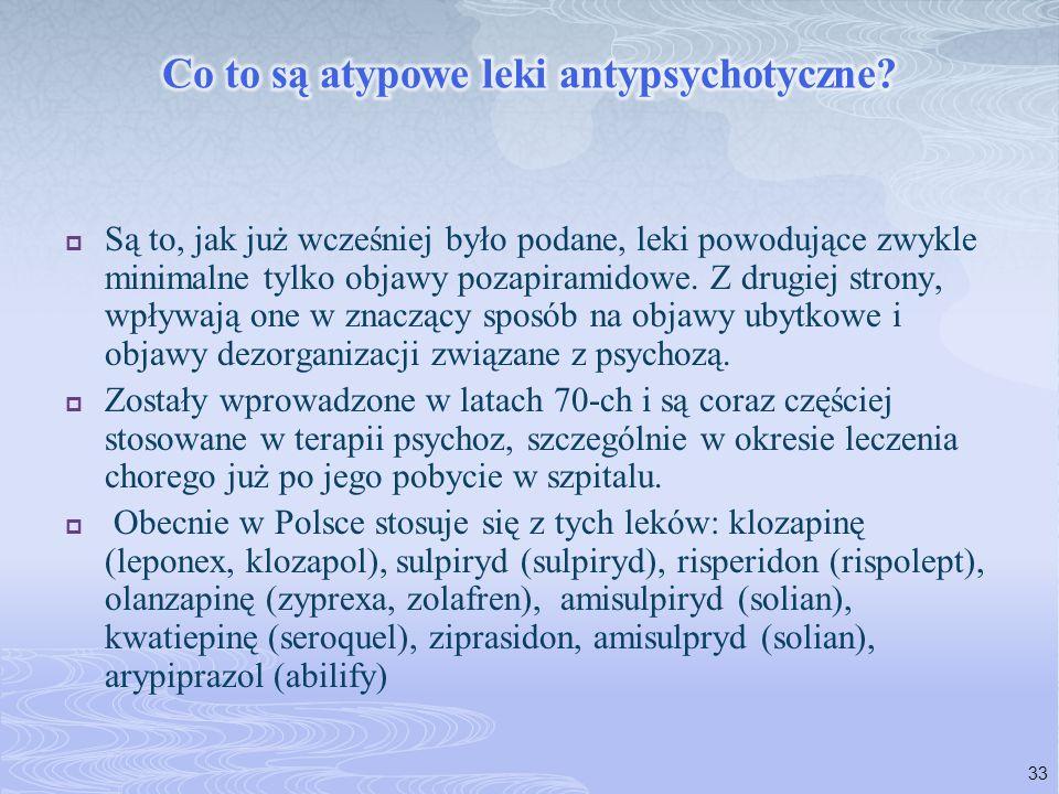  Są to, jak już wcześniej było podane, leki powodujące zwykle minimalne tylko objawy pozapiramidowe. Z drugiej strony, wpływają one w znaczący sposób