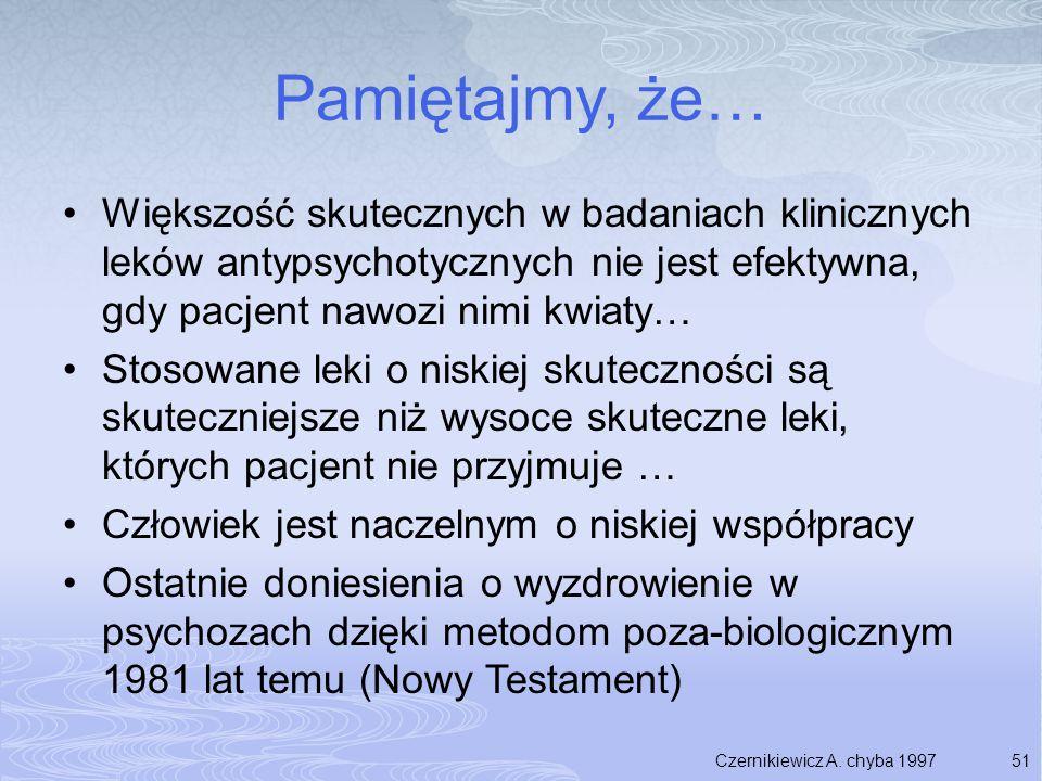 51 Pamiętajmy, że… Większość skutecznych w badaniach klinicznych leków antypsychotycznych nie jest efektywna, gdy pacjent nawozi nimi kwiaty… Stosowan