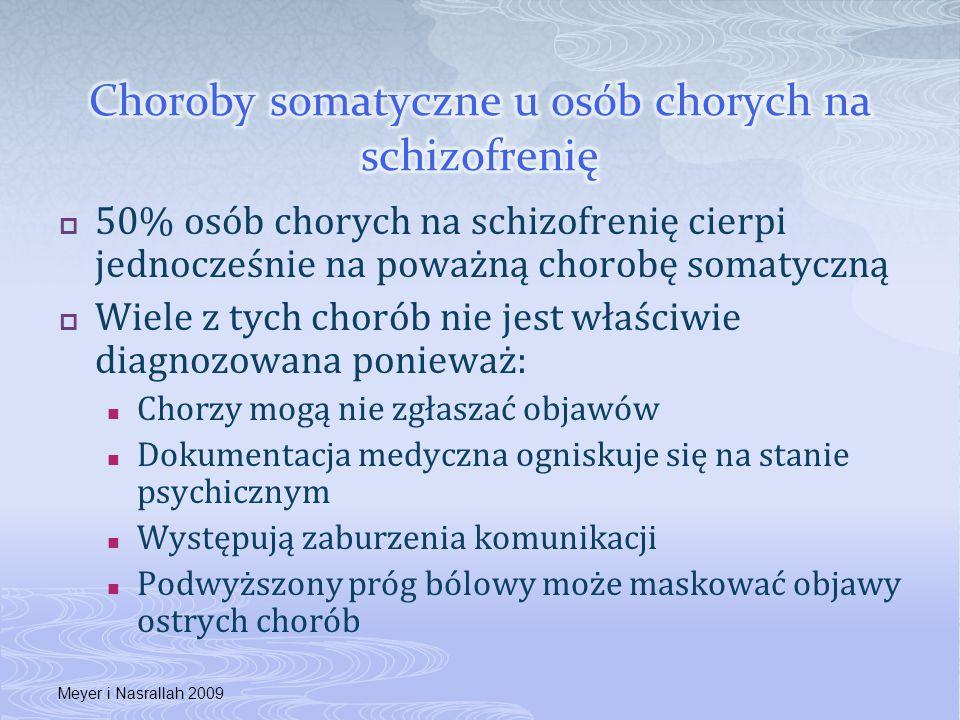  50% osób chorych na schizofrenię cierpi jednocześnie na poważną chorobę somatyczną  Wiele z tych chorób nie jest właściwie diagnozowana ponieważ: C