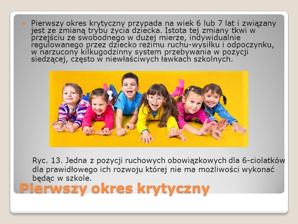 Pierwszy okres krytyczny Pierwszy okres krytyczny przypada na wiek 6 lub 7 lat i związany jest ze zmianą trybu życia dziecka.
