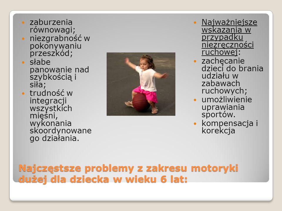 Najczęstsze problemy z zakresu motoryki dużej dla dziecka w wieku 6 lat: zaburzenia równowagi; niezgrabność w pokonywaniu przeszkód; słabe panowanie nad szybkością i siła; trudność w integracji wszystkich mięśni, wykonania skoordynowane go działania.