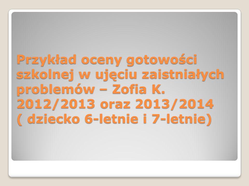Przykład oceny gotowości szkolnej w ujęciu zaistniałych problemów – Zofia K.