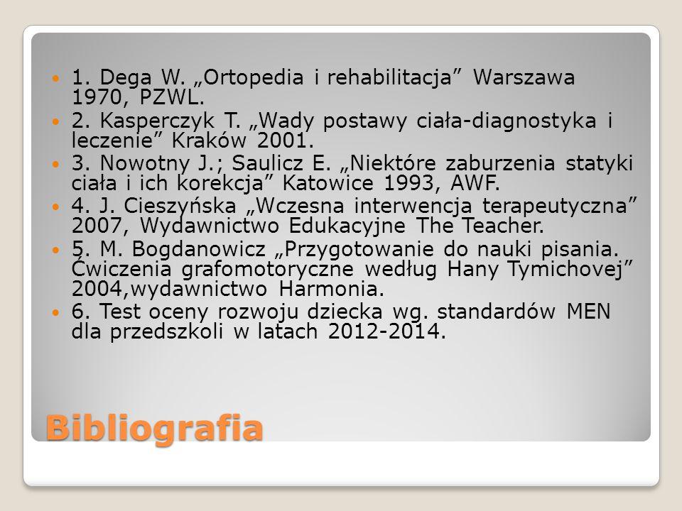 "Bibliografia 1.Dega W. ""Ortopedia i rehabilitacja Warszawa 1970, PZWL."