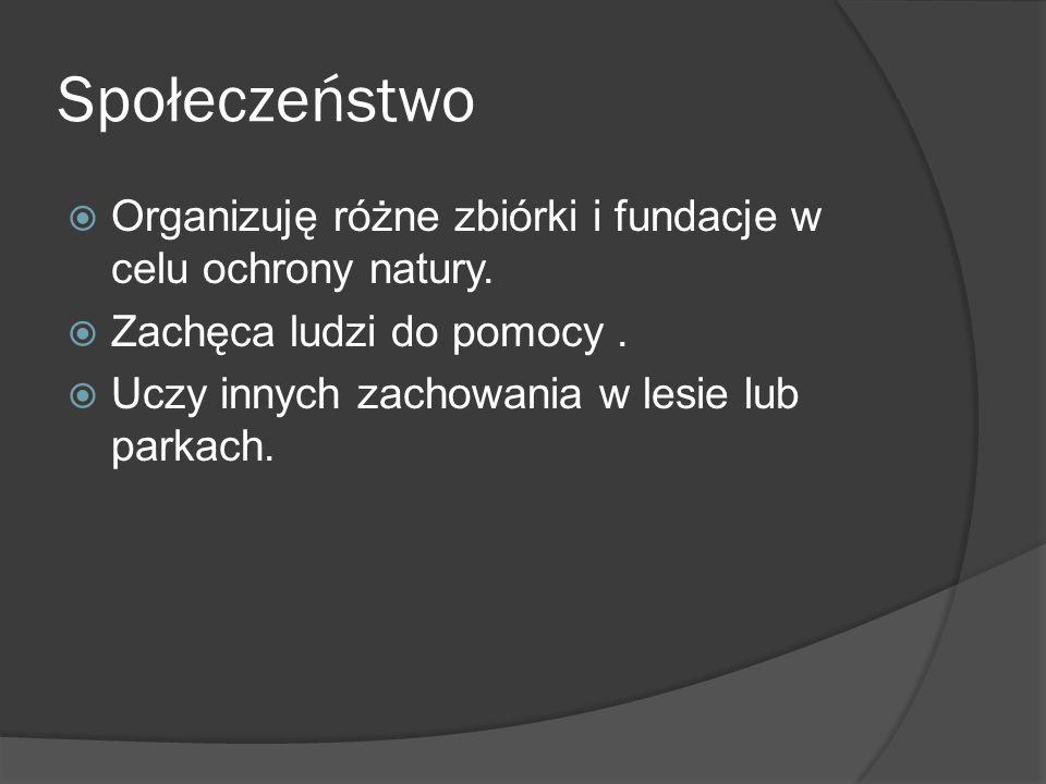 Społeczeństwo  Organizuję różne zbiórki i fundacje w celu ochrony natury.