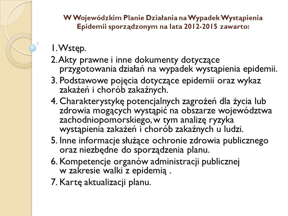 W Wojewódzkim Planie Działania na Wypadek Wystąpienia Epidemii sporządzonym na lata 2012-2015 zawarto: 1. Wstęp. 2. Akty prawne i inne dokumenty dotyc