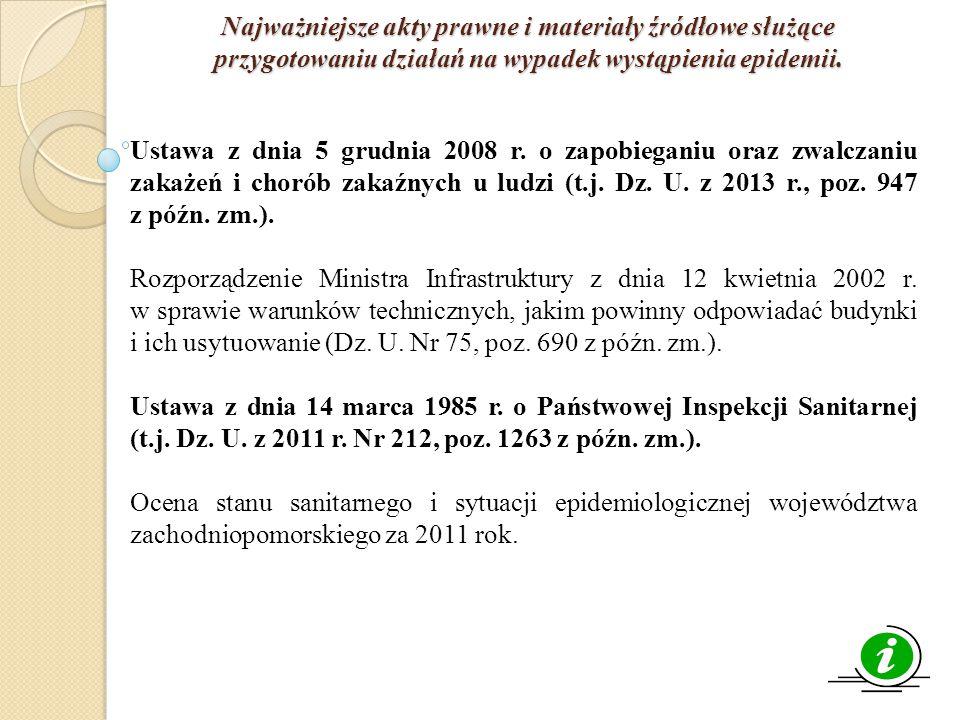 Najważniejsze akty prawne i materiały źródłowe służące przygotowaniu działań na wypadek wystąpienia epidemii. Ustawa z dnia 5 grudnia 2008 r. o zapobi