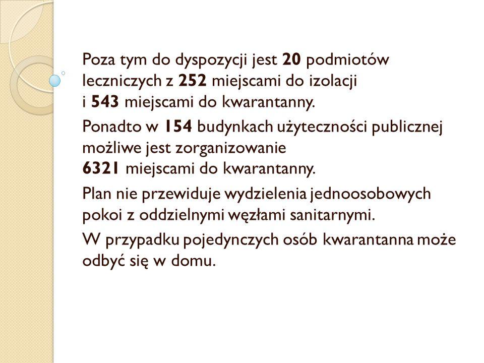 Poza tym do dyspozycji jest 20 podmiotów leczniczych z 252 miejscami do izolacji i 543 miejscami do kwarantanny. Ponadto w 154 budynkach użyteczności