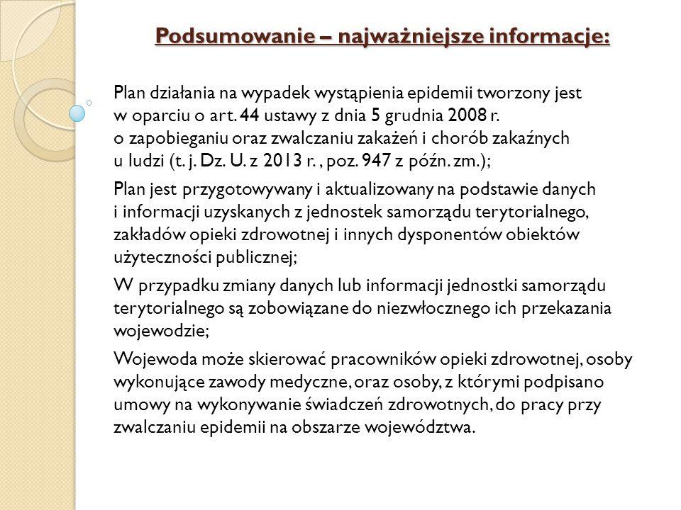 Podsumowanie – najważniejsze informacje: Plan działania na wypadek wystąpienia epidemii tworzony jest w oparciu o art. 44 ustawy z dnia 5 grudnia 2008