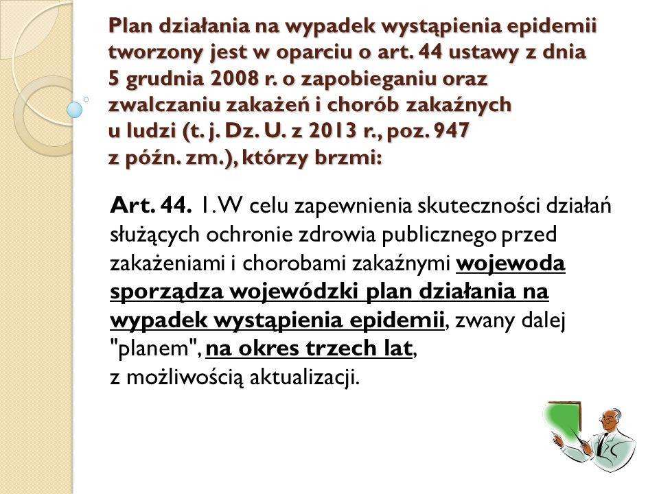 Plan działania na wypadek wystąpienia epidemii tworzony jest w oparciu o art. 44 ustawy z dnia 5 grudnia 2008 r. o zapobieganiu oraz zwalczaniu zakaże