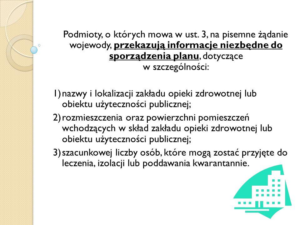 Podmioty, o których mowa w ust. 3, na pisemne żądanie wojewody, przekazują informacje niezbędne do sporządzenia planu, dotyczące w szczególności: 1)na