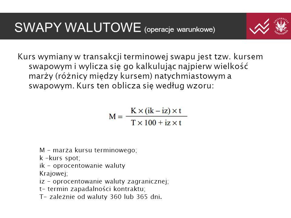 SWAPY WALUTOWE (operacje warunkowe) Kurs wymiany w transakcji terminowej swapu jest tzw. kursem swapowym i wylicza się go kalkulując najpierw wielkość