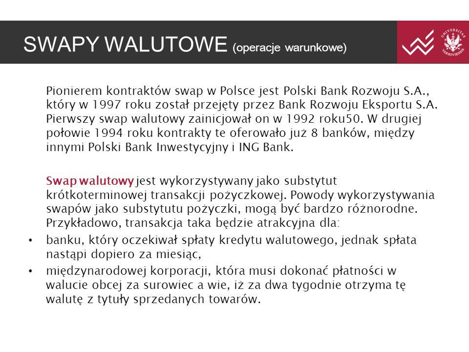 SWAPY WALUTOWE (operacje warunkowe) Pionierem kontraktów swap w Polsce jest Polski Bank Rozwoju S.A., który w 1997 roku został przejęty przez Bank Roz