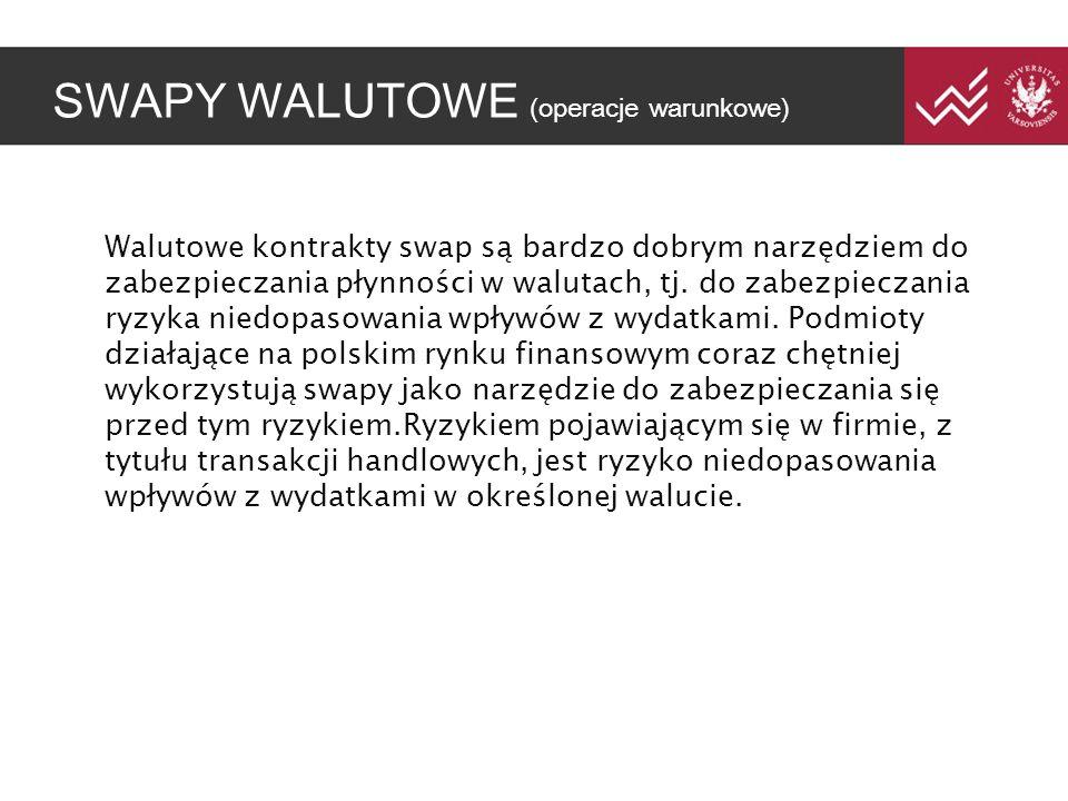 SWAPY WALUTOWE (operacje warunkowe) Walutowe kontrakty swap są bardzo dobrym narzędziem do zabezpieczania płynności w walutach, tj.