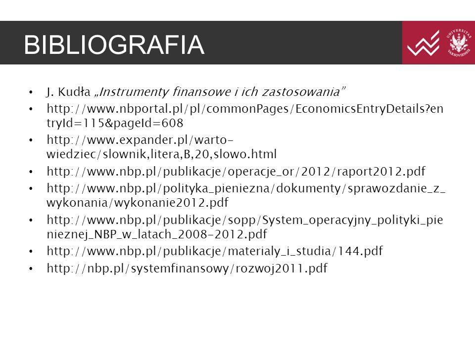 "BIBLIOGRAFIA J. Kudła ""Instrumenty finansowe i ich zastosowania"" http://www.nbportal.pl/pl/commonPages/EconomicsEntryDetails?en tryId=115&pageId=608 h"
