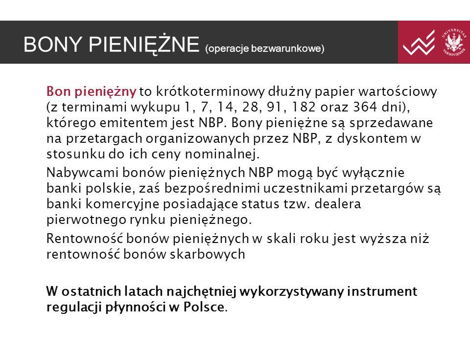 BONY PIENI ĘŻ NE (operacje bezwarunkowe) Bon pieniężny to krótkoterminowy dłużny papier wartościowy (z terminami wykupu 1, 7, 14, 28, 91, 182 oraz 364 dni), którego emitentem jest NBP.