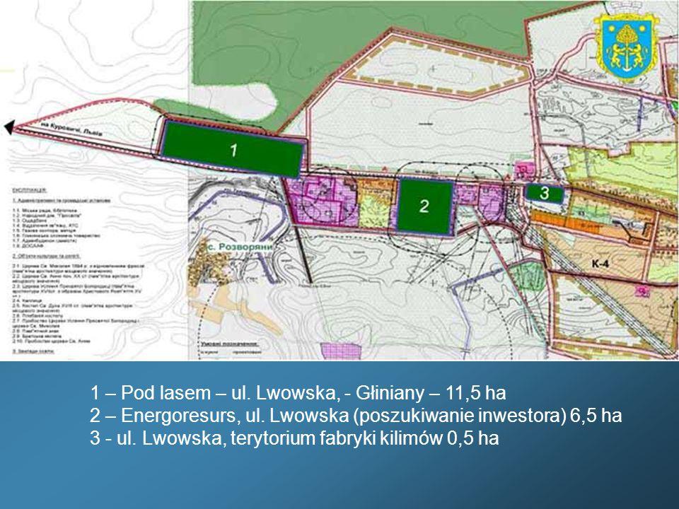 1 – Pod lasem – ul. Lwowska, - Głiniany – 11,5 ha 2 – Energoresurs, ul. Lwowska (poszukiwanie inwestora) 6,5 ha 3 - ul. Lwowska, terytorium fabryki ki
