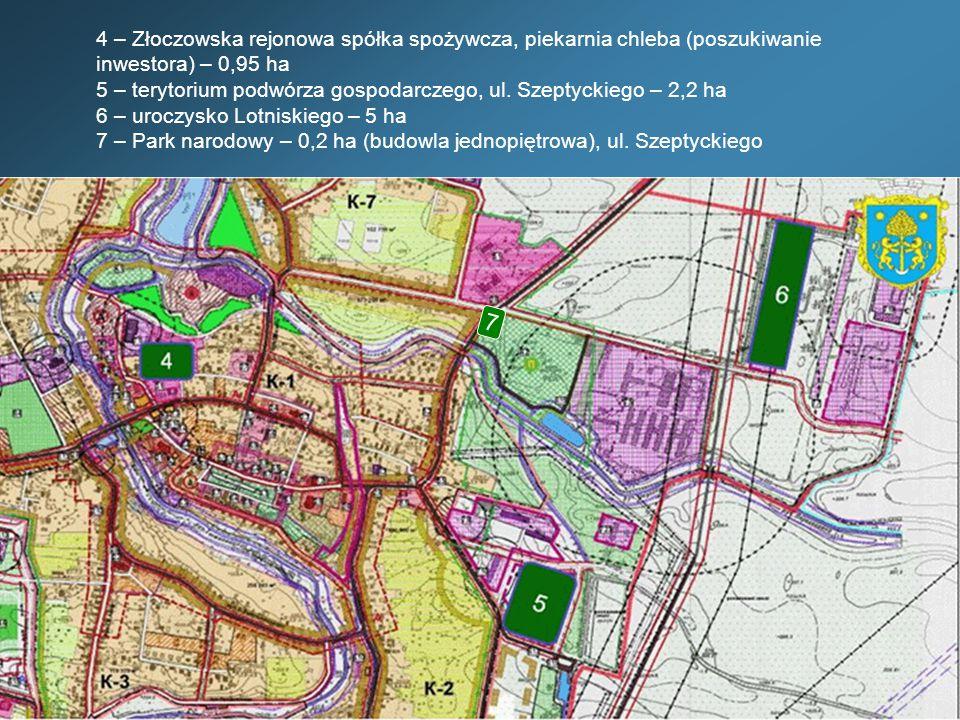 4 – Złoczowska rejonowa spółka spożywcza, piekarnia chleba (poszukiwanie inwestora) – 0,95 ha 5 – terytorium podwórza gospodarczego, ul.