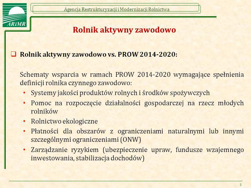 Agencja Restrukturyzacji i Modernizacji Rolnictwa Rolnik aktywny zawodowo  Rolnik aktywny zawodowo vs. PROW 2014-2020: Schematy wsparcia w ramach PRO