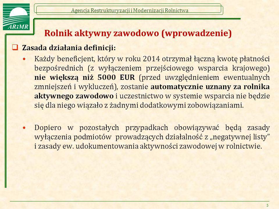 Agencja Restrukturyzacji i Modernizacji Rolnictwa Rolnik aktywny zawodowo (wprowadzenie)  Zasada działania definicji: Każdy beneficjent, który w roku