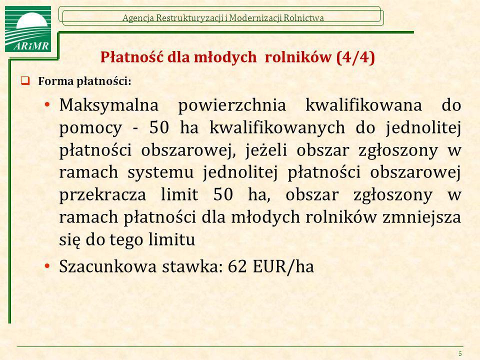 Agencja Restrukturyzacji i Modernizacji Rolnictwa Płatność dla młodych rolników (4/4)  Forma płatności: Maksymalna powierzchnia kwalifikowana do pomo
