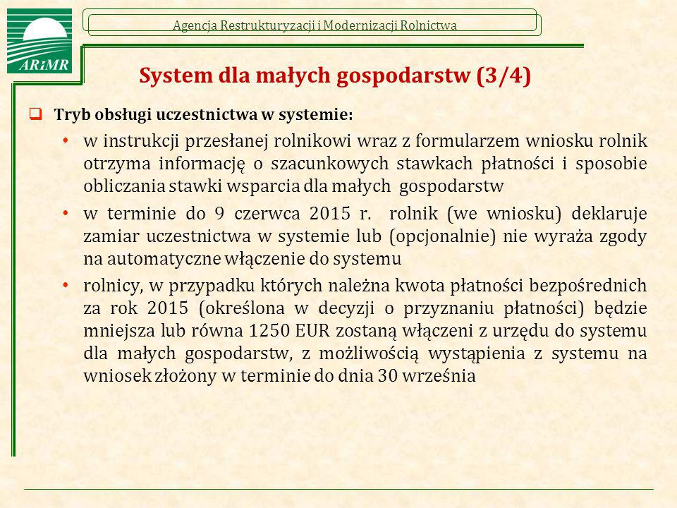 Agencja Restrukturyzacji i Modernizacji Rolnictwa System dla małych gospodarstw (3/4)  Tryb obsługi uczestnictwa w systemie: w instrukcji przesłanej