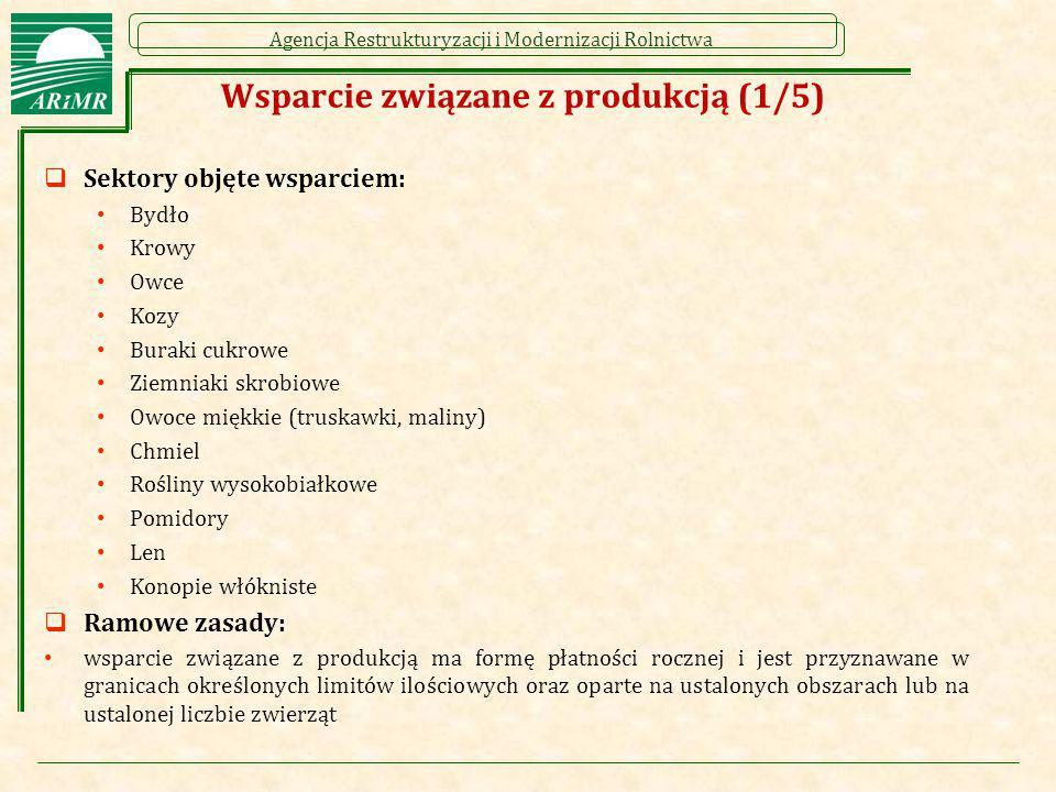 Agencja Restrukturyzacji i Modernizacji Rolnictwa Wsparcie związane z produkcją (1/5)  Sektory objęte wsparciem: Bydło Krowy Owce Kozy Buraki cukrowe