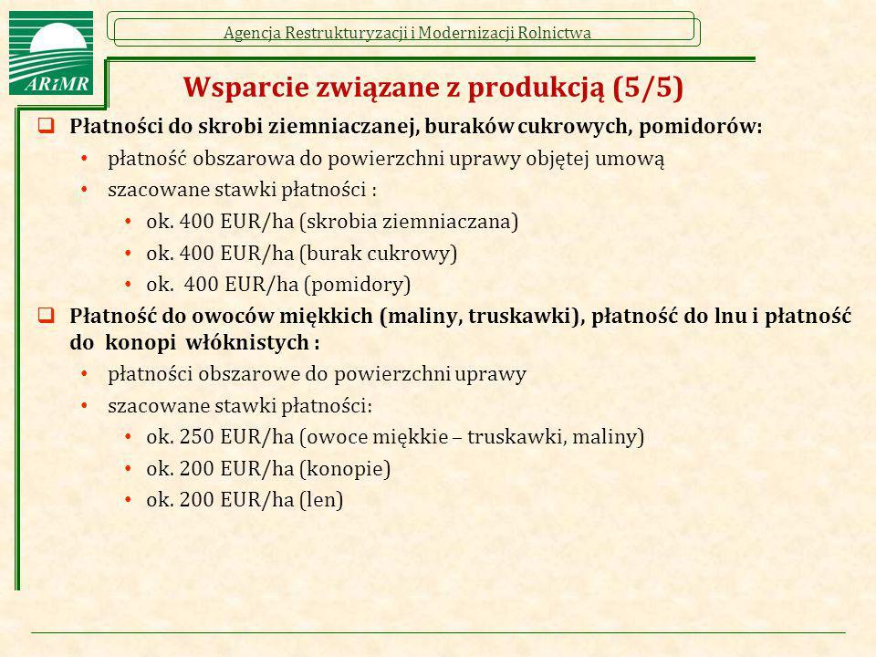 Agencja Restrukturyzacji i Modernizacji Rolnictwa Wsparcie związane z produkcją (5/5)  Płatności do skrobi ziemniaczanej, buraków cukrowych, pomidoró