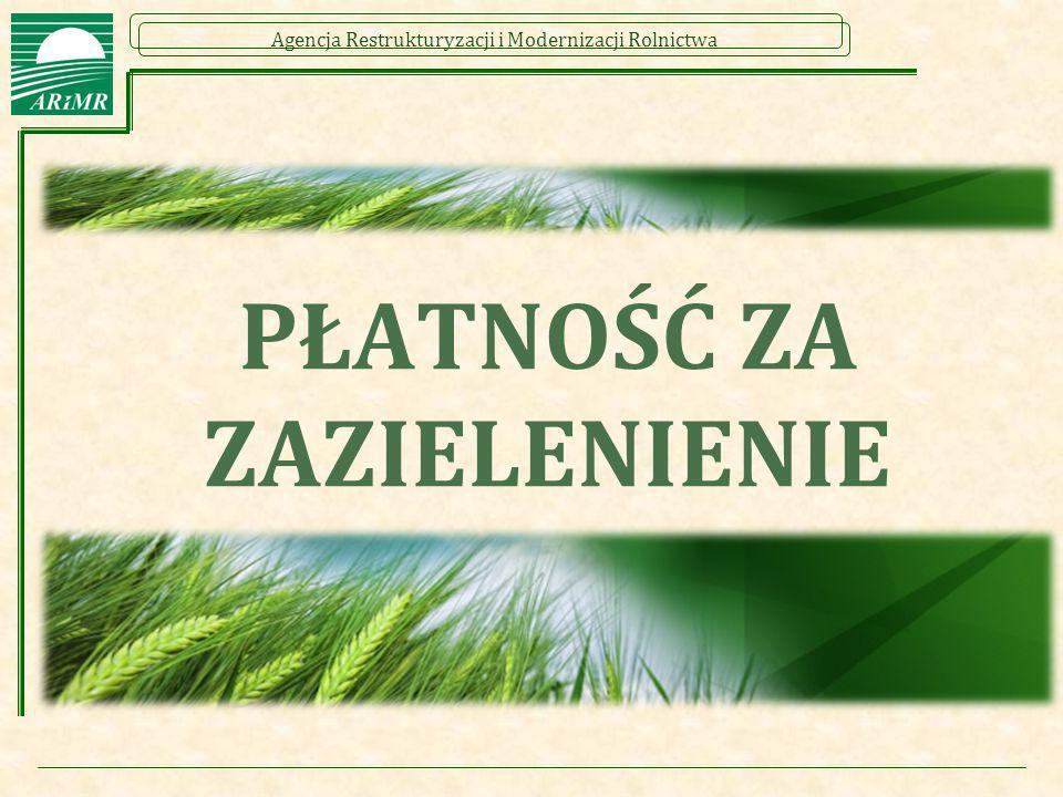 Agencja Restrukturyzacji i Modernizacji Rolnictwa PŁATNOŚĆ ZA ZAZIELENIENIE