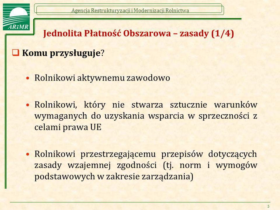 Agencja Restrukturyzacji i Modernizacji Rolnictwa Jednolita Płatność Obszarowa – zasady (1/4)  Komu przysługuje? Rolnikowi aktywnemu zawodowo Rolniko