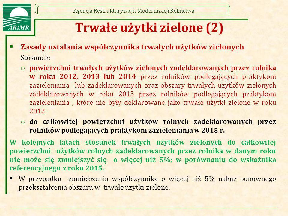 Agencja Restrukturyzacji i Modernizacji Rolnictwa Trwałe użytki zielone (2)  Zasady ustalania współczynnika trwałych użytków zielonych Stosunek: o po