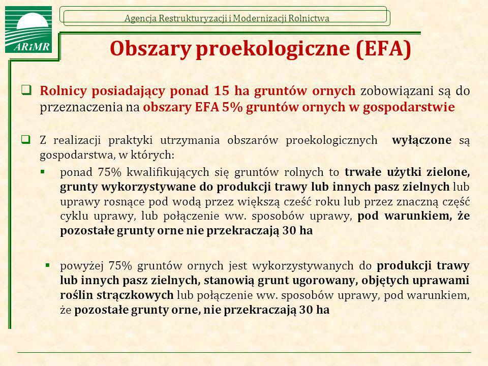 Agencja Restrukturyzacji i Modernizacji Rolnictwa Obszary proekologiczne (EFA)  Rolnicy posiadający ponad 15 ha gruntów ornych zobowiązani są do prze