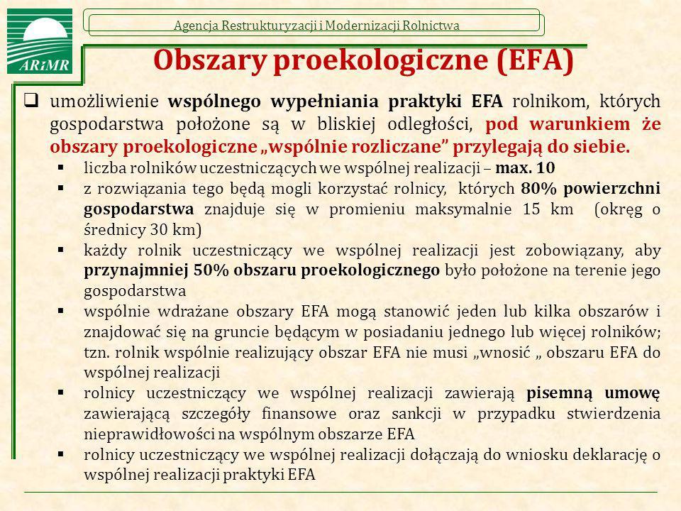 Agencja Restrukturyzacji i Modernizacji Rolnictwa Obszary proekologiczne (EFA)  umożliwienie wspólnego wypełniania praktyki EFA rolnikom, których gos