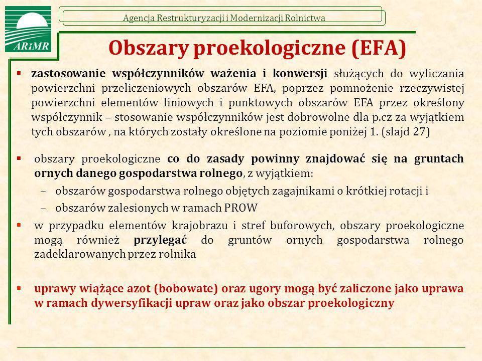 Agencja Restrukturyzacji i Modernizacji Rolnictwa Obszary proekologiczne (EFA)  zastosowanie współczynników ważenia i konwersji służących do wyliczan