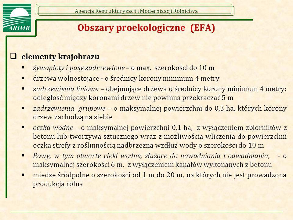 Agencja Restrukturyzacji i Modernizacji Rolnictwa Obszary proekologiczne (EFA)  elementy krajobrazu  żywopłoty i pasy zadrzewione – o max. szerokośc