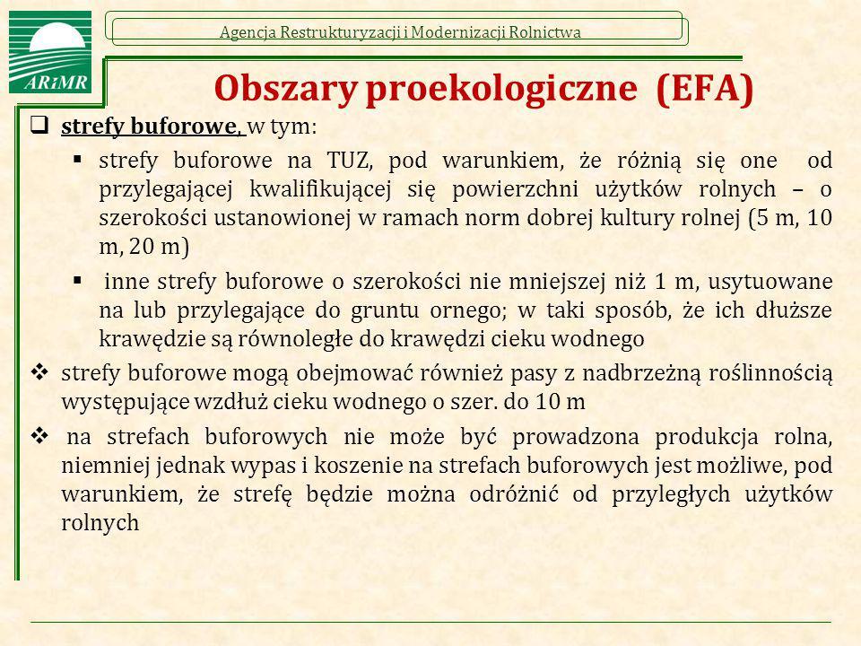 Agencja Restrukturyzacji i Modernizacji Rolnictwa Obszary proekologiczne (EFA)  strefy buforowe, w tym:  strefy buforowe na TUZ, pod warunkiem, że r