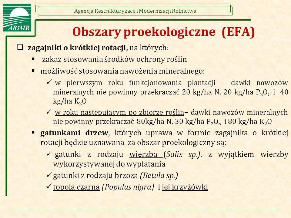 Agencja Restrukturyzacji i Modernizacji Rolnictwa Obszary proekologiczne (EFA)  zagajniki o krótkiej rotacji, na których:  zakaz stosowania środków