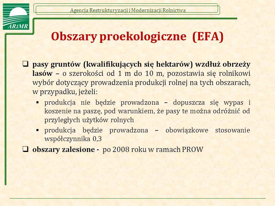 Agencja Restrukturyzacji i Modernizacji Rolnictwa Obszary proekologiczne (EFA)  pasy gruntów (kwalifikujących się hektarów) wzdłuż obrzeży lasów – o