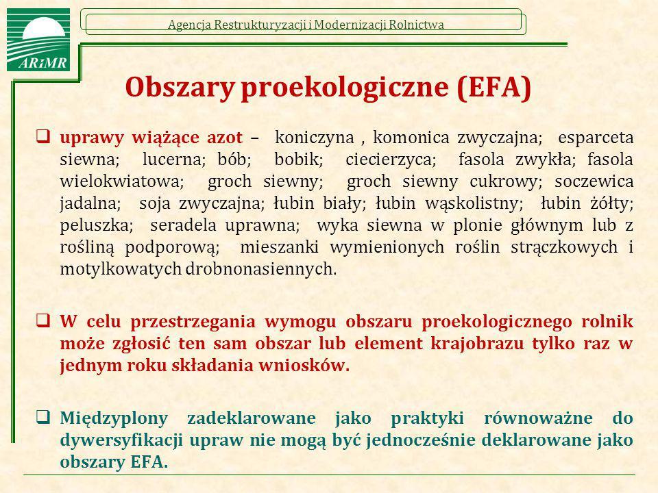 Agencja Restrukturyzacji i Modernizacji Rolnictwa Obszary proekologiczne (EFA)  uprawy wiążące azot – koniczyna, komonica zwyczajna; esparceta siewna